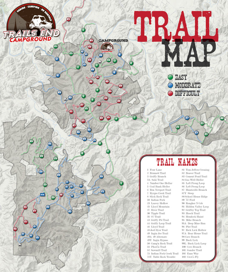 Camping In Tennessee Map.Campground Trails End Campground